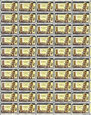 1962 - DAG HAMMARSKJOLD (error) -#1204 Mint Sheet of 50 Vintage Postage Stamps