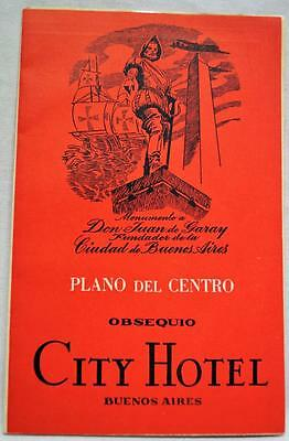 CITY HOTEL ADVERTISING BUENOS AIRES ARGENTINA CITY STREET MAP 1930s VINTAGE