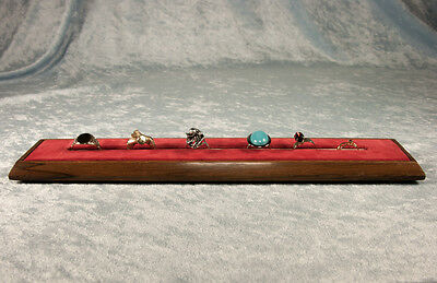 Vintage Walnut Ring Display With Rings