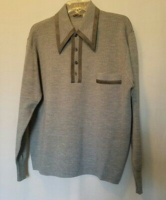 Vintage Hipster Italian Mens Lauro Sweater-Pointed Collar-Gray-Wool Leather- L
