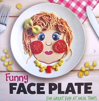 Funny Face Dinner Plate for Kids, Dishwasher and Microwave Safe (Girls)