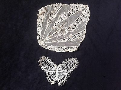 pair antique lace cuffs, a butterfly and piece of Lace