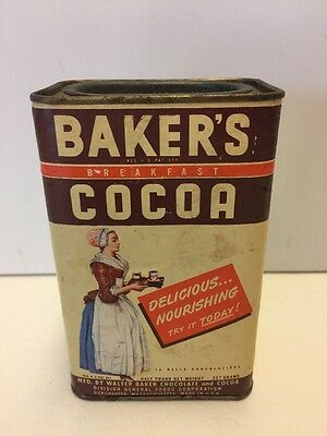 Vintage Walter Baker's Breakfast Cocoa Tin 1/2 Lb Country Store Advertising MA
