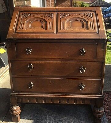 antique solid wood writing bureau