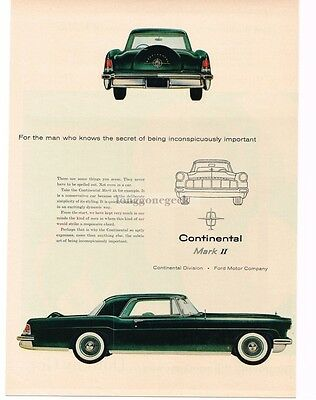 1956 Lincoln CONTINENTAL MARK II Black 2-door Coupe VTG PRINT AD