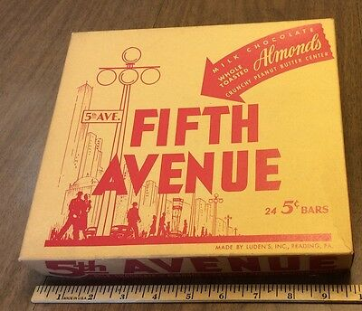 Old Fifth Avenue Candy Bar Store Display box, C-1940's, Luden's Inc, Reading, Pa