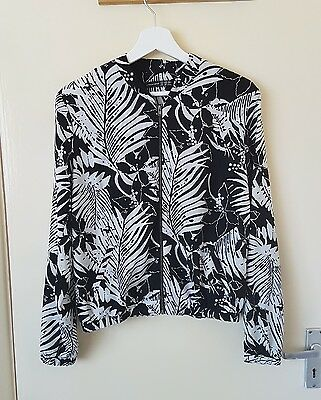 Black and white tropical print jacket size 12