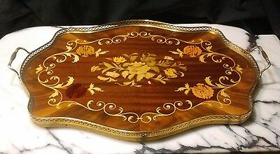Vintage Italian  Inlaid Wooden Serving Tray With Brass Trim And Handles
