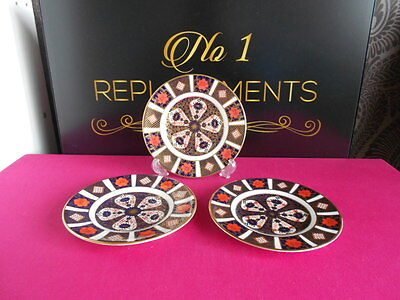 """3 X Royal Crown Derby 2nd Quality Old Imari 1128 Side Plates 6.25"""""""