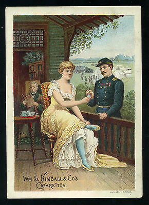 Lot 48: 1880s Wm S Kimball & Co Cigarettes Lady and Military Soldier Trade Card