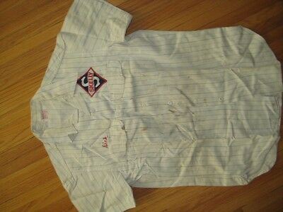 Skelly Gas Uniform Shirt +Name + Patch 1950s? Unitog Medium Button Chest Pockets