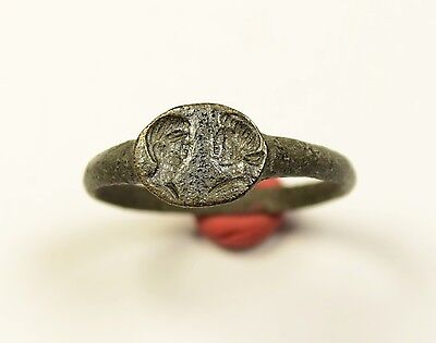 Unique Roman Bronze Finger Ring With Two Busts Of Emperors - Very Rare Ring