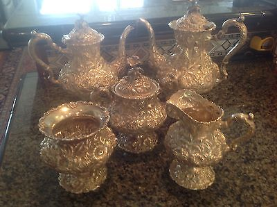 Five Piece Sterling Silver Tea Service Repousse By Stieff, Hand Chased