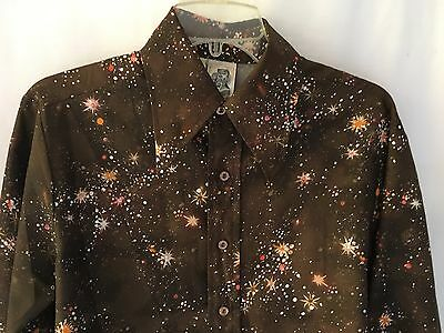 Viintage Men's 1970's Disco Style Ugly Polyester Shirt Pointy Collar M