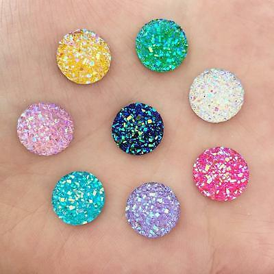 40Pcs 12Mm Random Mixed Mineral Surface Flatback Round Resin Diy Craft Buttons