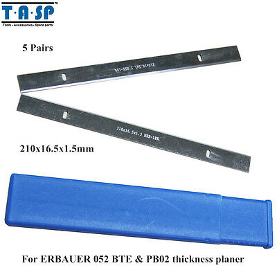 5Pair 210x16.5x1.5mm HSS Thickness Planer Blade For ERBAUER 052 BTE & PB02