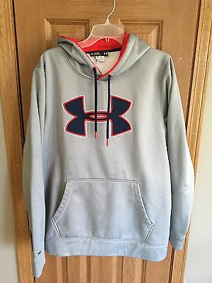 """UNDER ARMOUR Men's Gray/red/Navy """"Storm"""" Hoodie Size XL"""