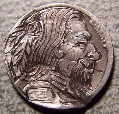 Hobo Nickel, Engraved, Carved ,Scrimshaw,Coin Art , MD ! Hit by the fast Freight