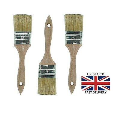 3x 50mm MASTA BUILD Professional Wooden Handle Natural Bristle Paint Brush NEW