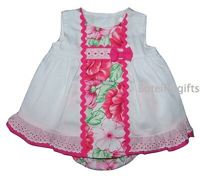 Baby Girls Spanish White/Floral Broderie Anglaise Bow Dress & Pants 0-18 Month