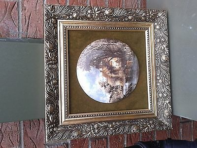 antique unusual porcelain and gold wood frame picture