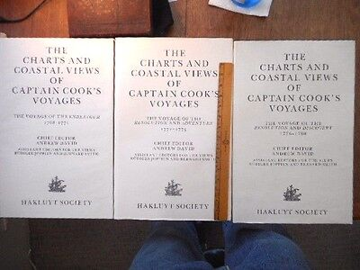 Charts & Coastal Views Of Captain Cook's Voyages 3 Folio Set Hakluyt Society Map