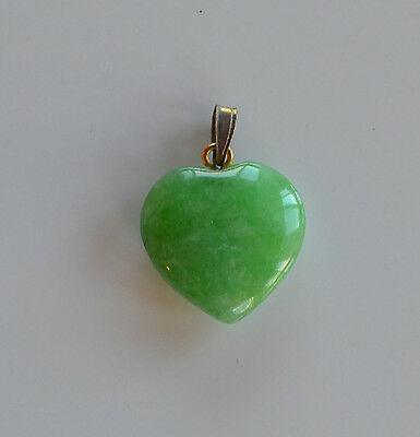Antique Chinese hand carved Apple Green jade jadeite puffy heart pendant small