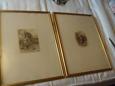 TWO ANTIQUE ENGRAVING PICTURES signed  F,B OR B,F IN GILT COLOURED FRAMES
