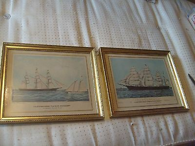TWO ANTIQUE LITHOGRAPH PRINTS unsigned IN GILT SWEPT WOODEN FRAMES