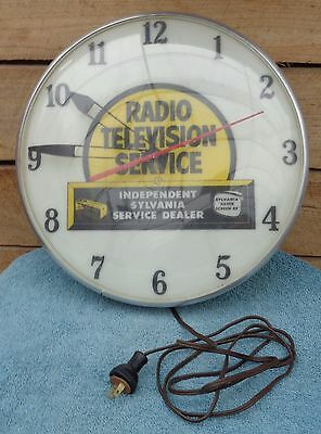 Vintage Radio Television Sylvania Service Dealer Electric Lighted Wall Clock