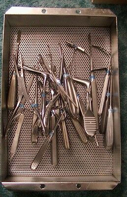 STAINLESS STEEL STERILIZATION SURGICAL TRAY 15 1/2 x 10 WITH TOOLS