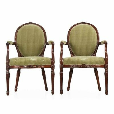 Fine Pair of George III Period Mahogany Arm Chairs, England c. late 18th Century