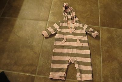 Old Navy Baby Girls Pink & Brown Striped Hooded Spring One Piece  Outfit 3-6 Mo