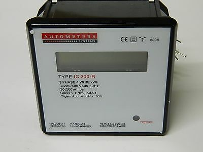 Autometers Type IC200-R Panel Mounted Display Power Meter KWh 3X 230/400