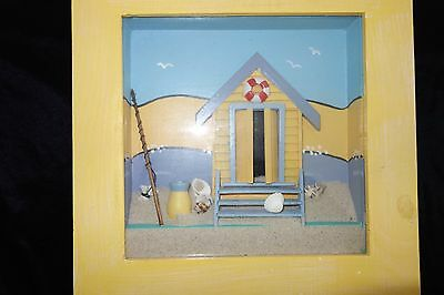 BEACH SHAK Boxed Frame '3D Decorative Art' with real sand and miniature shells
