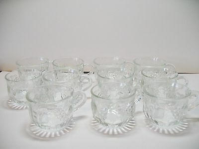 Vintage Jeannette Glass Co. Clear Glass Punch Cups mugs Fruit Pattern Lot of 11