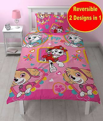 New Paw Patrol Single Duvet Quilt Cover Set Girls Kids Childrens Pink Bedroom
