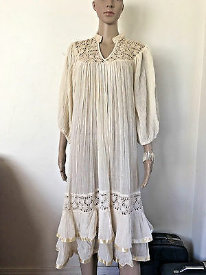 VINTAGE 70's GAUZE DRESS IVORY WEDDING CROCHET SHEER BOHO TIERED HEM ONE SIZE