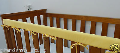2 x Baby Cot Rail Cover Crib Teething Pad - Sunshine Yellow  REDUCED SET OF TWO