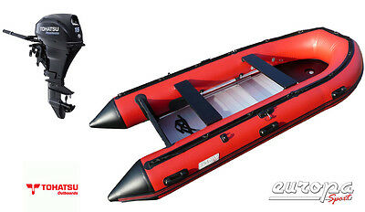 NEW Europa Sport 3.8m Inflatable Boat Aluminium Floor + Tohatsu 15hp outboard