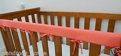 2 x Baby Cot Rail Cover Crib Teething Pad - Coral - Apricot *REDUCED* SET OF TWO