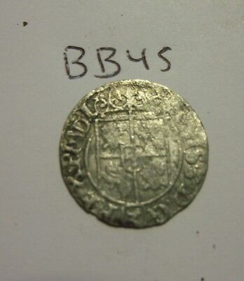 Genuine Silver 1600s Medieval coin. (bb45)