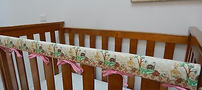 1 x Baby Cot Rail Cover Crib Teething Pad- Australian Animals - Pink - *REDUCED*