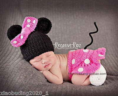 Newborn Baby Girls Crochet Knit Costume Photo Photography Prop Outfits /14