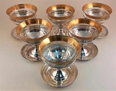 6 Vintage Sterling Silver Sherbet Cups With Etched Gold Trim Glass Inserts