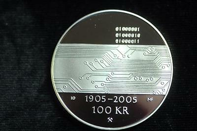 2005 100 Kroner Norway Circuit Board Proof Silver Coin #d268