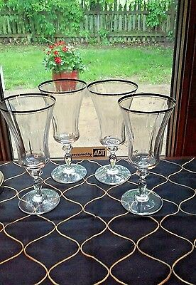1 Set of 4 Excellent Mikasa Clear Jamestown Platinum Iced Tea Teas Goblets