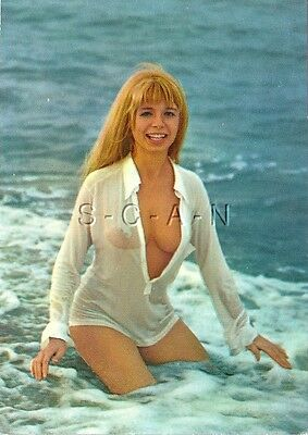 Original Vintage 1960s German Semi Nude Pinup PC- Blond- Wet White Shirt- Ocean