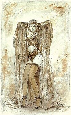 Original Semi Nude Pinup Artistic PC- Luis Royo Striptease- Cape- Bra- Stockings
