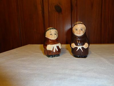 Vintage Porcelain Friar Tuck Monks Salt & Pepper Shakers